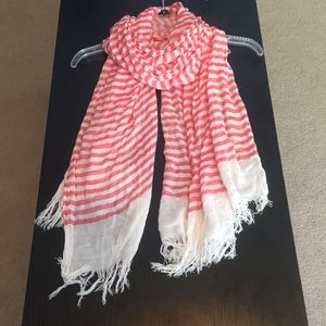Pink & White Stripped Scarf
